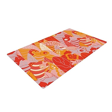 East Urban Home Akwaflorell Fishes Here, Fishes There Orange/Red Area Rug; 4' x 6'