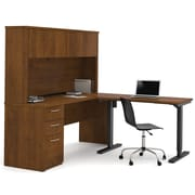 Latitude Run Karyn Electric Adjustable Height L-Shape Computer Desk w/ Hutch; Tuscany Brown