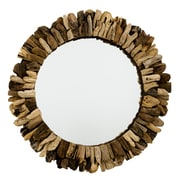 Loon Peak Round Wooden Accent Wall Mirror