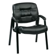 Worksmart Bonded Leather Visitor Chair, Black