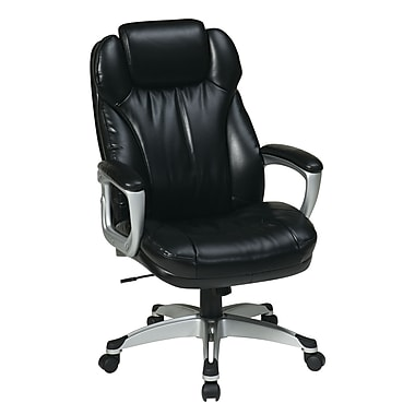 Worksmart Executive Chair w/ Adj Headrest, Black