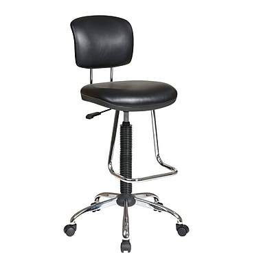 Worksmart Chrome Finish Drafting Chair, Black