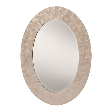 OSP Designs Rio Beveled Wall Mirror, White Pearl