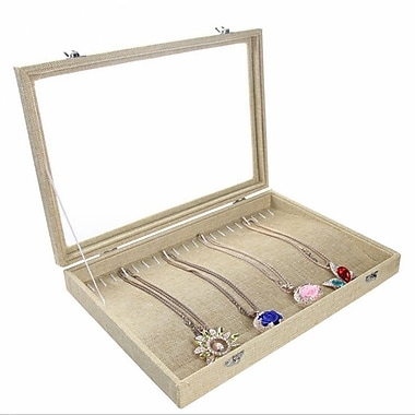 Zakka Glass-Top Necklace Bracelet Display Case Burlap