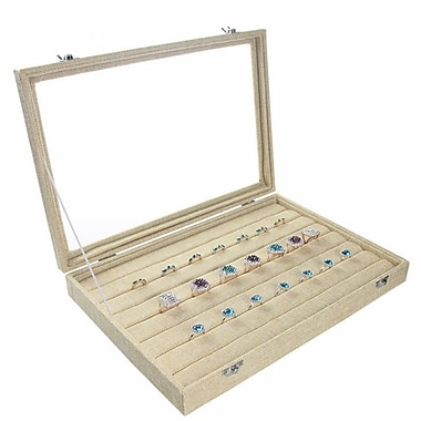 Zakka Glass-Top Ring Insert Slot Display Case Burlap