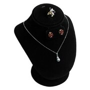 """Zakka Necklace+Earring Set Display 7""""H Black Velvet"""