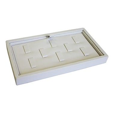 Zakka Jewelry Ring Display Tray 8-Clip White Leather