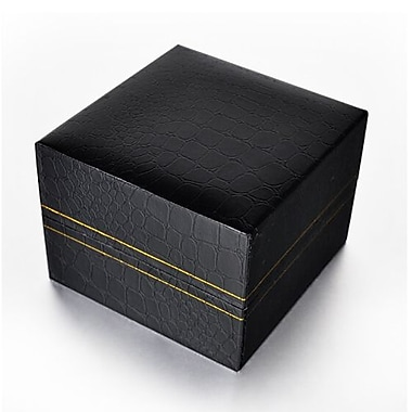 Zakka Black Leather Watch Bangle Box w/Velvet Pillow