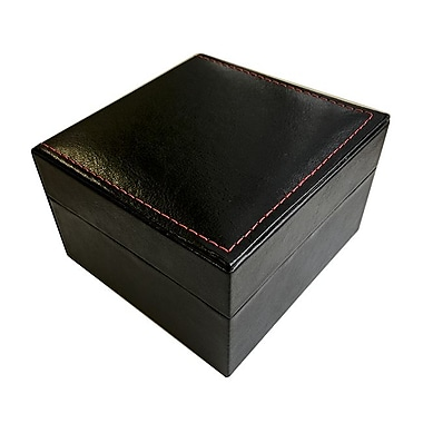 Zakka Black Leather Watch Bracelet Box w/Velvet Pillow