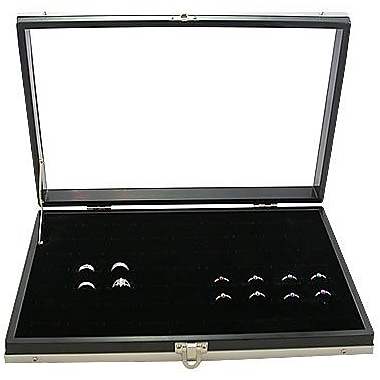 Zakka Glass-Top Ring Insert Slot Display Case Black