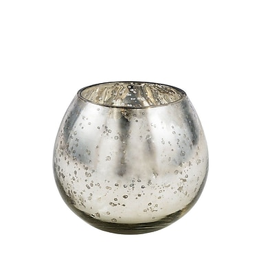 LiveVie Champagne Collection Glass Round Silver Cup Votive (ANC-809)