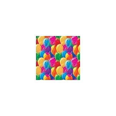 2 Sheet Flat Birthday Wrap, Coloured Balloons, 24 Sheets