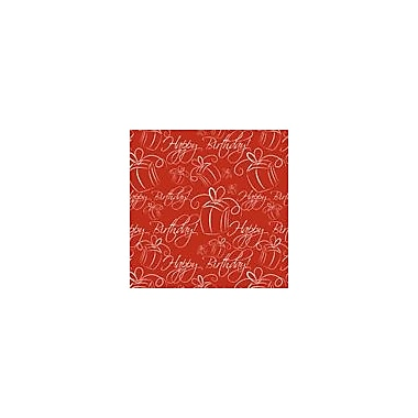 2 Sheet Flat Birthday Wrap, Red, 24 Sheets