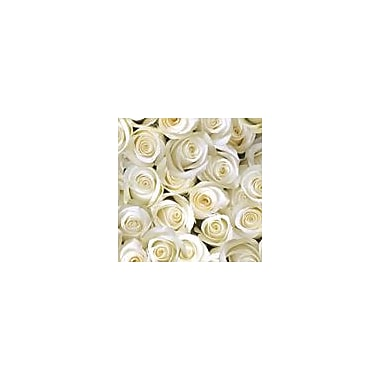 2 Sheet Flat Wedding/Anniversary Wrap, White Roses, 24 Sheets