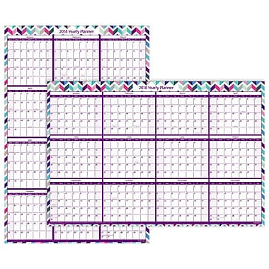 2018 Staples® Erasable Yearly Wall Calendar, 12 Months, January Start, 24