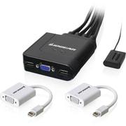 IOGEAR 2-Port USB VGA Cable KVM with Mini DisplayPort Adapters