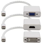 AddOn 3-Pack of 8in Mini-DisplayPort 1.1 to DVI/HDMI/VGA Male to Female White Adapter Cables