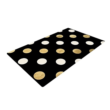 East Urban Home Dots Black/Gold Area Rug