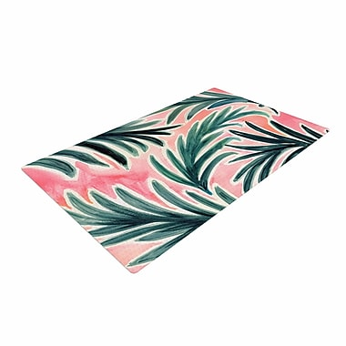 East Urban Home Crystal Walen Lush Palm Leaves Green/Pink Area Rug; 2' x 3'