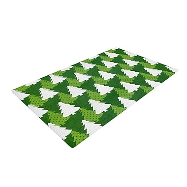 East Urban Home Heidi Jennnings Pine Forest Green/White Area Rug; 4' x 6'