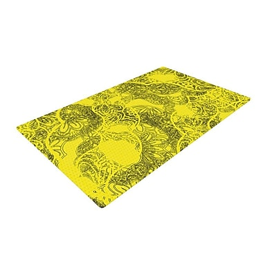 East Urban Home Patternmuse Mandala Lemon Yellow Area Rug; 4' x 6'