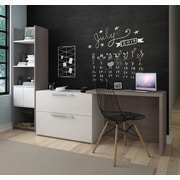Latitude Run Frederick 2 Piece Sliding Computer Desk and Storage Tower Set; Dark Gray/White