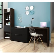 Latitude Run Frederick 2 Piece Sliding Computer Desk and Storage Tower Set; Dark Chocolate/Black