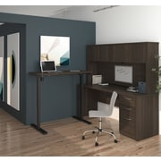 Latitude Run Karyn Electric Adjustable Height L-Shape Computer Desk w/ Hutch; Dark Chocolate
