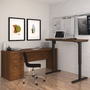 Latitude Run Karyn Electric Adjustable Height L-Shape Computer Desk; Tuscany Brown