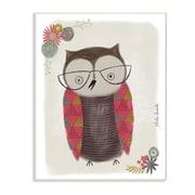 Harriet Bee Cute Nerdy Owl Illustration Wall Plaque Art