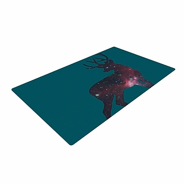 East Urban Home Alias Deer in the Starlight Teal/Pink Area Rug; 2' x 3'