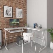 Ebern Designs Ondina 3 Piece Corner L-Shaped Computer Desk; White