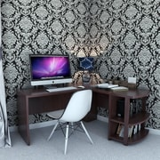 Ebern Designs Rae Corner L-Shaped Computer Desk; Dark Russet Cherry
