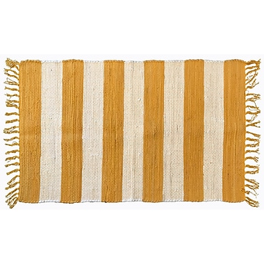 Highland Dunes Bruno Stripe Area Rug in Yellow