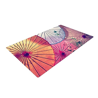 East Urban Home Sylvia Cook Colorful Umbrellas Pink/Purple Area Rug; 2' x 3'
