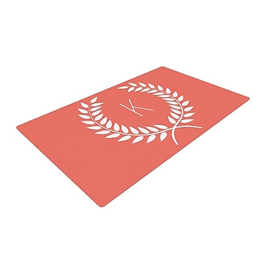 East Urban Home Wreath Monogram Pink/Coral Area Rug