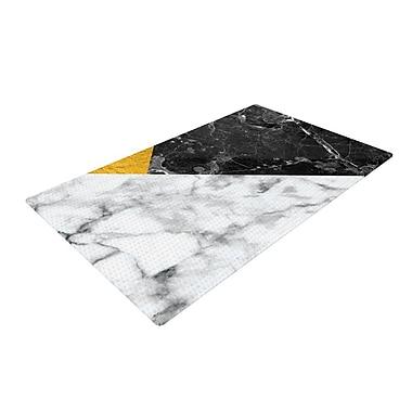 East Urban Home Geo Digital Geometric Marble/Gold Area Rug