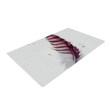 East Urban Home Lydia Martin The Feather White/Red Area Rug; 2' x 3'