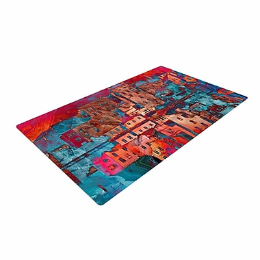 East Urban Home Suzanne Carter Marbled Skyline Red/Blue Area Rug; 4' x 6'