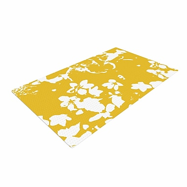 East Urban Home Love Midge Helena Floral Yellow Golden/White Area Rug; 2' x 3'