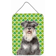 East Urban Home St. Patrick's Day Shamrock Print on Plaque; Schnauzer (Silver)
