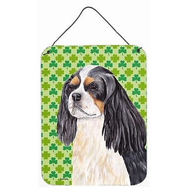East Urban Home St. Patrick's Day Shamrock Print on Plaque; Cavalier Spaniel (Black) 1