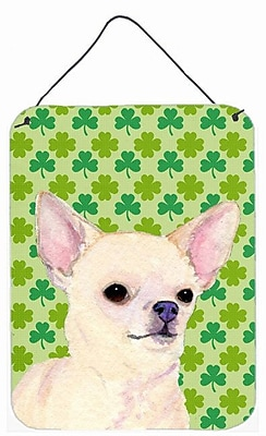 East Urban Home St. Patrick's Day Shamrock Print on Plaque; Chihuahua (White)