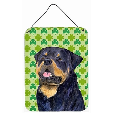 East Urban Home St. Patrick's Day Shamrock Print on Plaque; Rottweiler