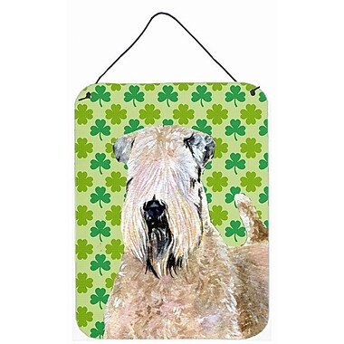 East Urban Home St. Patrick's Day Shamrock Print on Plaque; Wheaten Terrier Soft Coated