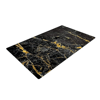 East Urban Home Fleck Marble Abstract Digital Black/Gold Area Rug
