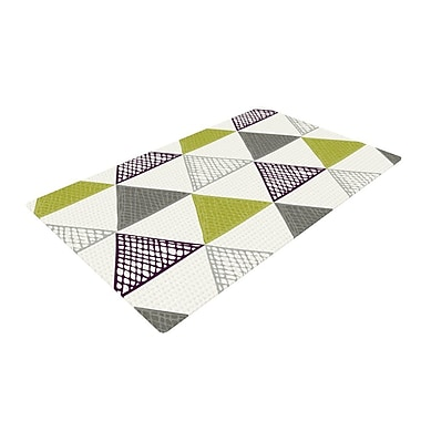 East Urban Home Laurie Baars Textured Triangles Gray/Green Area Rug; 4' x 6'