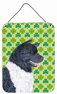 East Urban Home St. Patrick's Day Shamrock Print on Plaque; Akita (Black & White)