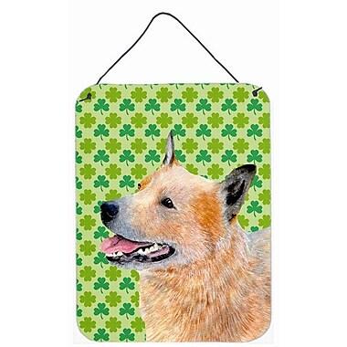 East Urban Home St. Patrick's Day Shamrock Print on Plaque; Australian Cattle Dog (Yellow)
