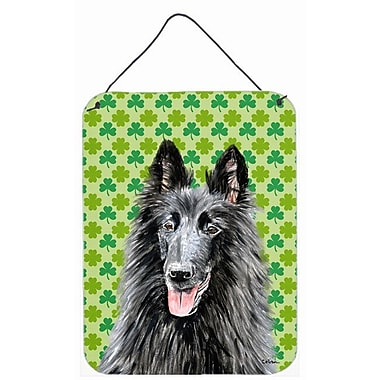 East Urban Home St. Patrick's Day Shamrock Print on Plaque; Belgian Sheepdog